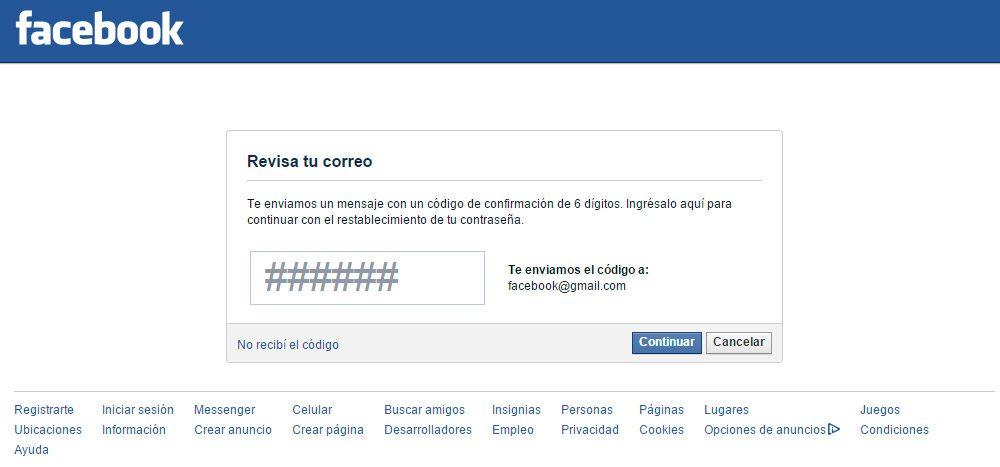 Código para recuperar contraseña Facebook