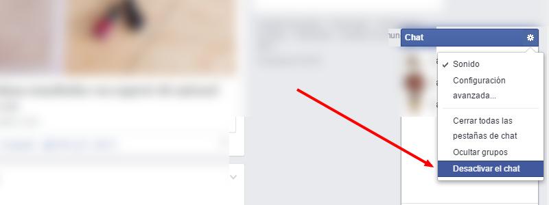 Desactivar chat de Facebook
