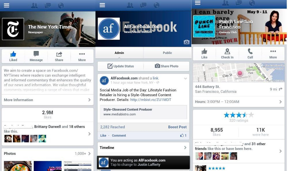 Facebook para móvil Android