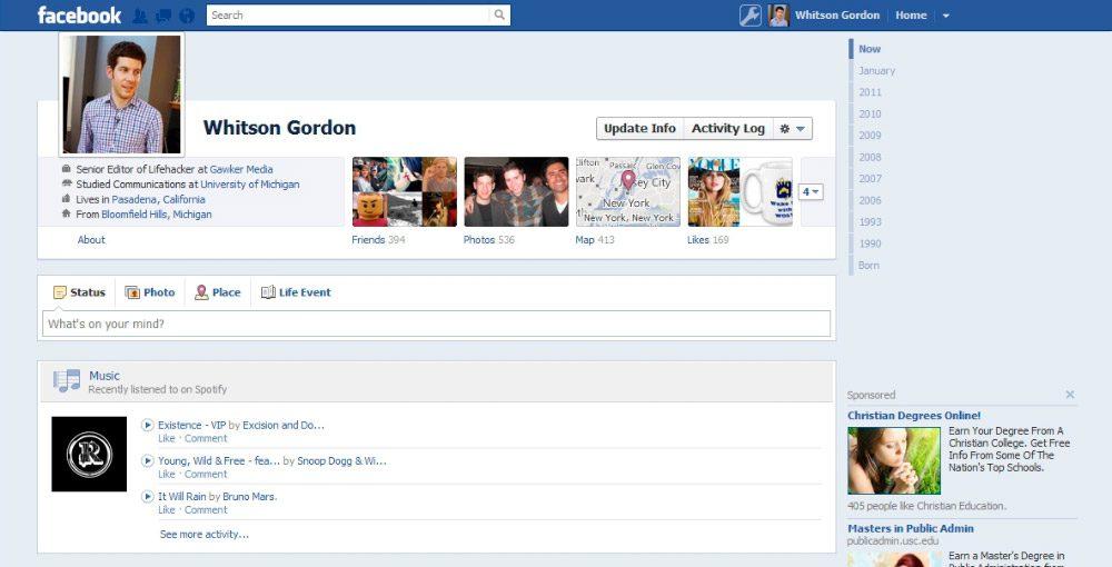 Perfiles de amigos en Facebook