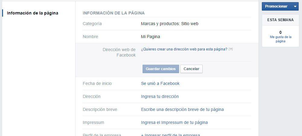 Personalizar la URL de una página de Facebook