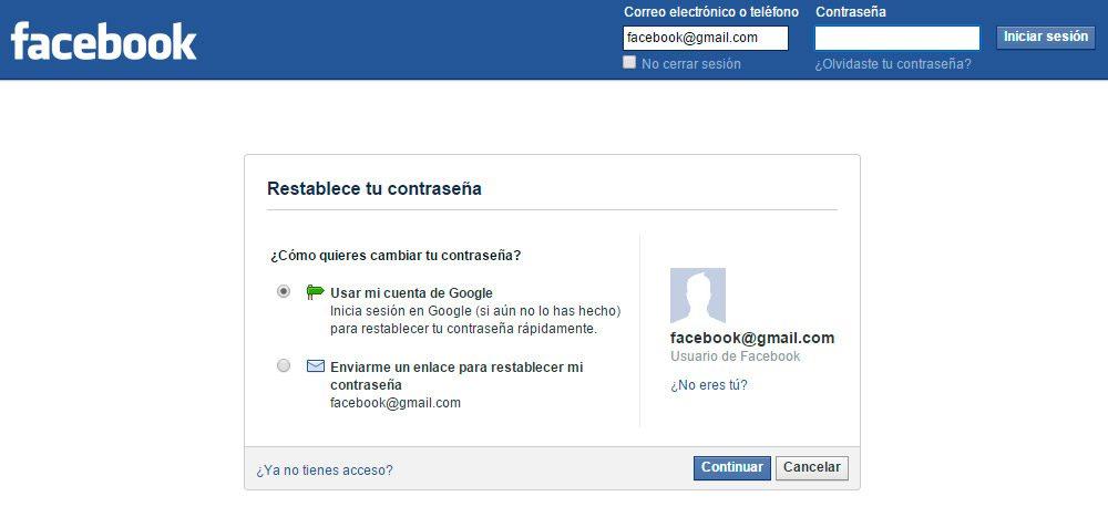 Recuperar la contraseña de Facebook